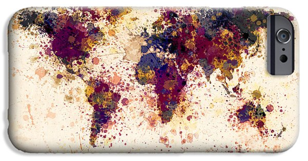 Map Canvas iPhone Cases - World Map Paint Splashes iPhone Case by Michael Tompsett