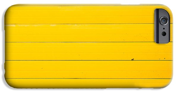 Stripe.paint iPhone Cases - Yellow metal iPhone Case by Tom Gowanlock