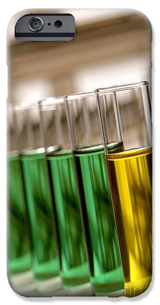 Laboratory Equipment iPhone Cases - Laboratory Test Tubes in Science Research Lab iPhone Case by Olivier Le Queinec