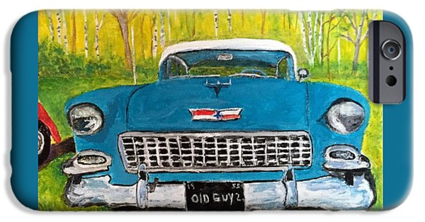 Old Cars iPhone Cases - 55 Bel Air Chevy iPhone Case by Anne Sands