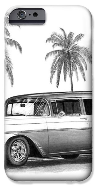 56 Chevy Wagon iPhone Case by Peter Piatt