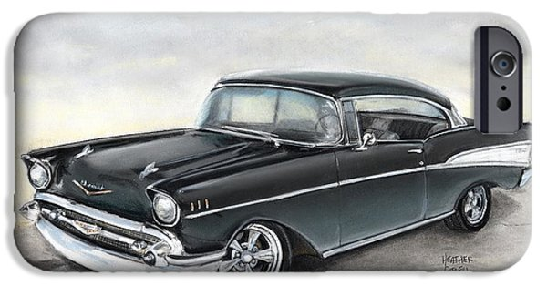 Vintage Car Pastels iPhone Cases - 57 Chev iPhone Case by Heather Gessell