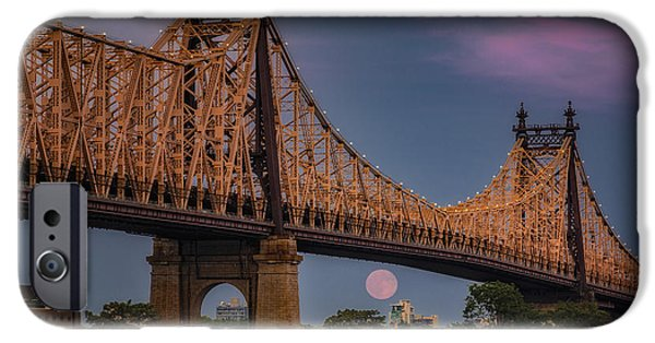 Moonscape iPhone Cases - 59 Street Queensboro Bridge Full Moon iPhone Case by Susan Candelario