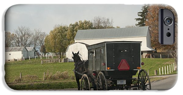 Horse And Buggy iPhone Cases - Amish Buggy iPhone Case by David Arment