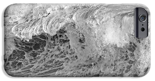 Maine iPhone Cases - Black and White Large Waves Near Pemaquid Point On The Coast Of  iPhone Case by Keith Webber Jr