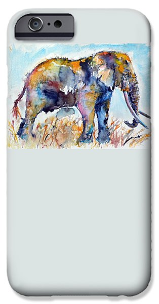 Paintings iPhone Cases - Colorful elephant iPhone Case by Kovacs Anna Brigitta