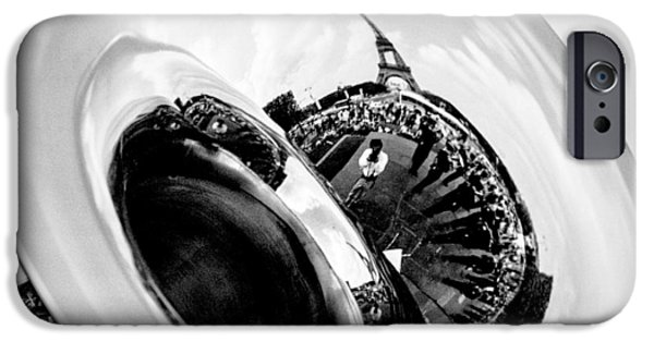Monotone Pyrography iPhone Cases - Eiffel Tower. iPhone Case by Cyril Jayant