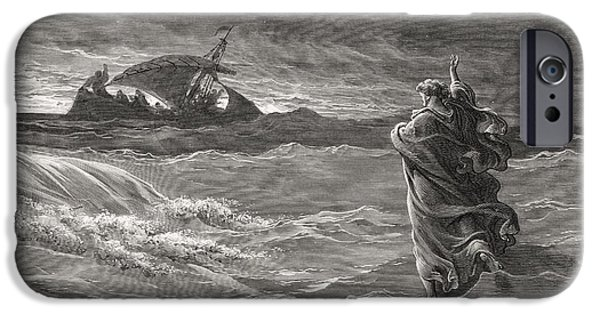 Miracle Drawings iPhone Cases - Engraving From The The Dore Bible iPhone Case by Ken Welsh