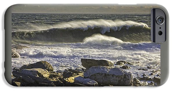 Rocky Maine Coast iPhone Cases - Large Waves Near Pemaquid Point On The Coast Of Maine iPhone Case by Keith Webber Jr