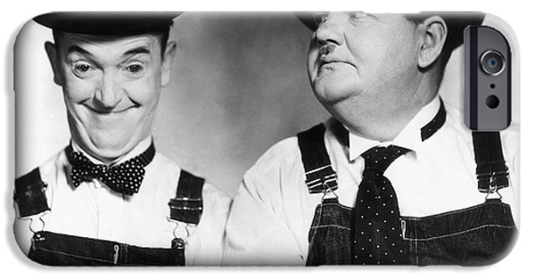 Denim iPhone Cases - Laurel And Hardy iPhone Case by Granger