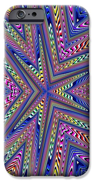 Fractal iPhone Cases - 6 Point Abstract iPhone Case by John Edwards