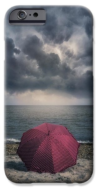 Umbrella Photographs iPhone Cases - Red Umbrella iPhone Case by Joana Kruse