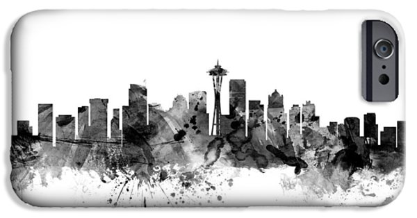 Seattle iPhone Cases - Seattle Washington Skyline iPhone Case by Michael Tompsett