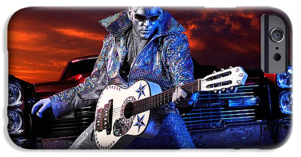 Character Portraits Photographs iPhone Cases - Silver Elvis iPhone Case by Oleksiy Maksymenko