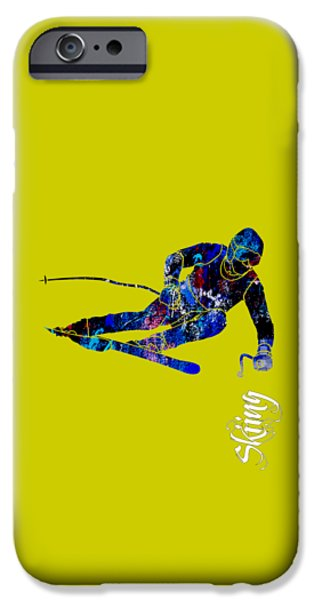 Alps iPhone Cases - Skiing Collection iPhone Case by Marvin Blaine