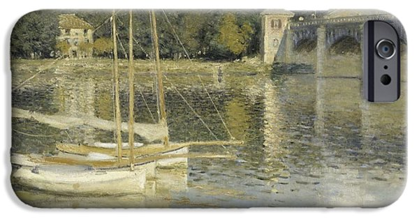 Recently Sold -  - Sailboat iPhone Cases - The Argenteuil Bridge iPhone Case by Claude Monet
