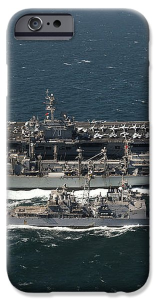 Underway Replenishment At Sea With U.s iPhone Case by Stocktrek Images