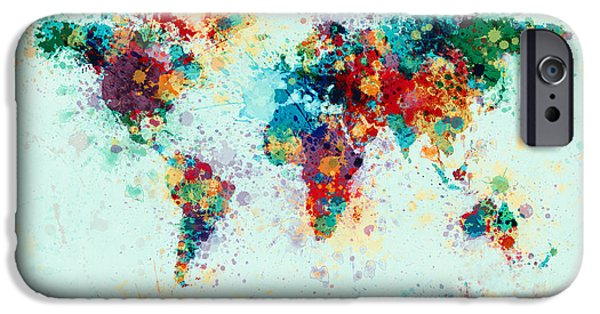 Panoramic iPhone Cases - World Map Paint Splashes iPhone Case by Michael Tompsett
