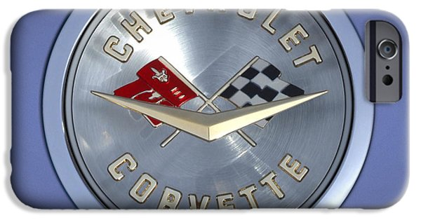 """square "" Digital iPhone Cases - 60 Chevy Corvette Emblem  iPhone Case by Mike McGlothlen"