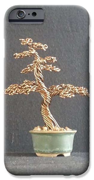 Etc. Sculptures iPhone Cases - #64 Bronze wire tree sculpture in a Ken To pot iPhone Case by Ricks  Tree Art