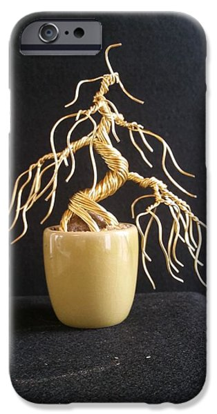 Etc. Sculptures iPhone Cases - #65 Weeping With Gold wire tree sculpture iPhone Case by Ricks  Tree Art