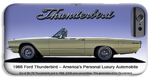 Convertible iPhone Cases - 66 Thunderbird Convertible iPhone Case by Douglas Pittman