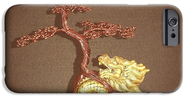 Plant Sculptures iPhone Cases - #68 Dragon scene Wire Tree Sculpture iPhone Case by Ricks  Tree Art