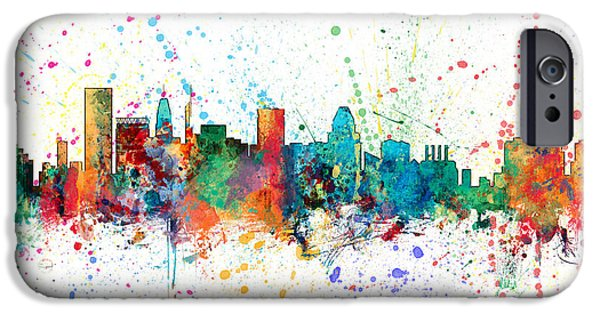 Maryland iPhone Cases - Baltimore Maryland Skyline iPhone Case by Michael Tompsett