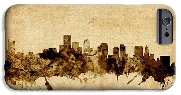 City. Boston iPhone Cases - Boston Massachusetts Skyline iPhone Case by Michael Tompsett