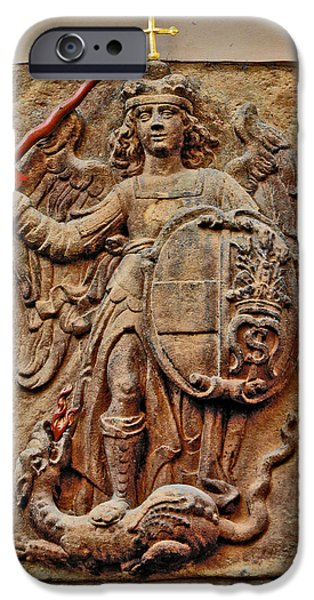 Charles Bridge Digital Art iPhone Cases - Dragon. Next To Charles Bridge. Prague. Czech Republic. iPhone Case by Andy Za