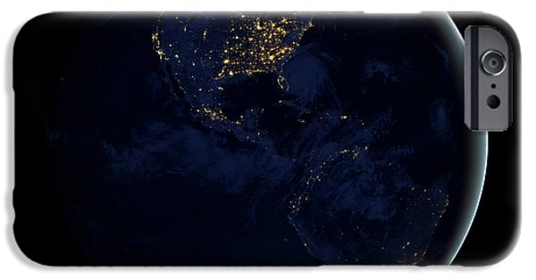 Terrestrial Sphere iPhone Cases - Full Earth At Night Showing City Lights iPhone Case by Stocktrek Images