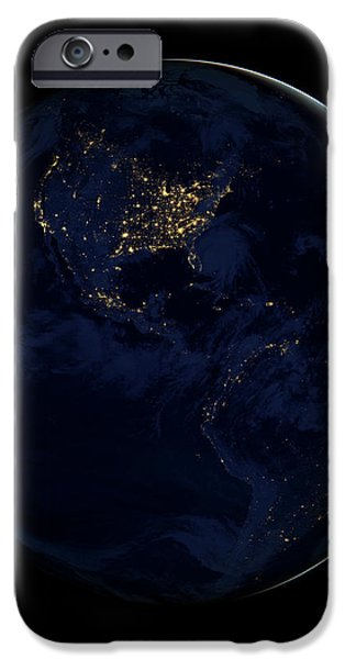 Full Earth At Night Showing City Lights iPhone Case by Stocktrek Images