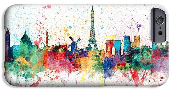 Paris Digital Art iPhone Cases - Paris France Skyline iPhone Case by Michael Tompsett