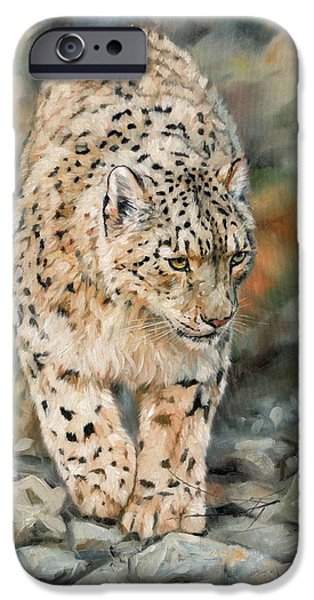 Snow iPhone Cases - Snow Leopard iPhone Case by David Stribbling