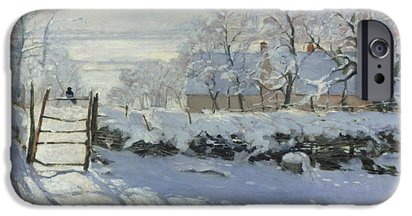 Snowscape Paintings iPhone Cases - The Magpie iPhone Case by Claude Monet