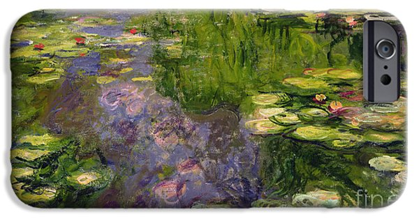 Mauve iPhone Cases - Waterlilies iPhone Case by Claude Monet