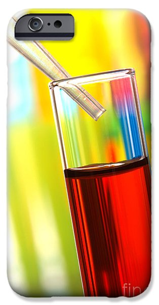 Laboratory Equipment iPhone Cases - Laboratory Experiment in Science Research Lab iPhone Case by Olivier Le Queinec