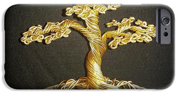 Plants Sculptures iPhone Cases - #76 Golden bonsai wire tree sculpture iPhone Case by Ricks  Tree Art