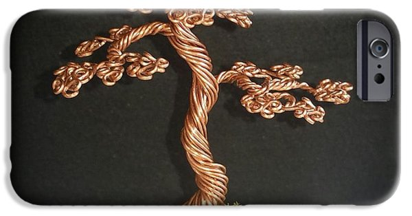 Plant Sculptures iPhone Cases - #77 Copper bonsai tree wire sculpture iPhone Case by Ricks  Tree Art