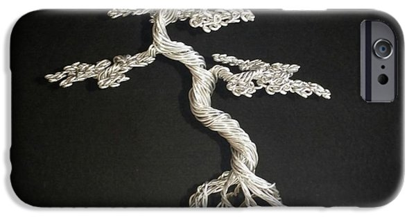 Etc. Sculptures iPhone Cases - #78 Mig wire tree sculpture iPhone Case by Ricks  Tree Art