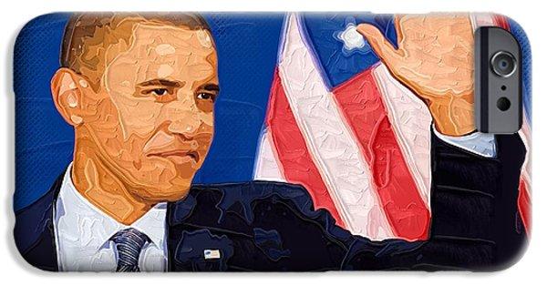 Portrait Barack Obama iPhone Cases - Barack Obama Portrait iPhone Case by Victor Gladkiy