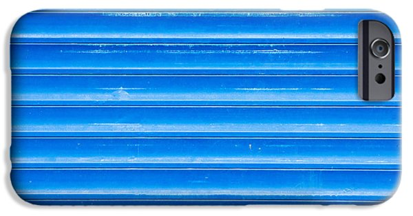 Sheets Photographs iPhone Cases - Blue metal iPhone Case by Tom Gowanlock