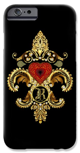 Zeus iPhone Cases - Fleur-de-lis 3 Monograms Duvets Transparent Back Pick Color iPhone Case by Bill Campitelle