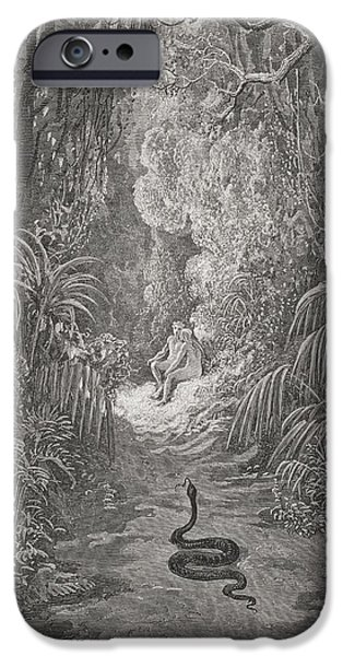 Serpent iPhone Cases - Illustration By Gustave Dore 1832-1883 iPhone Case by Ken Welsh