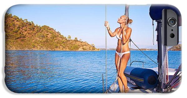 Sailboat Ocean iPhone Cases - Sexy woman on sailboat iPhone Case by Anna Omelchenko