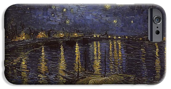 Starry Night iPhone Cases - Starry Night Over The Rhone iPhone Case by Vincent van Gogh