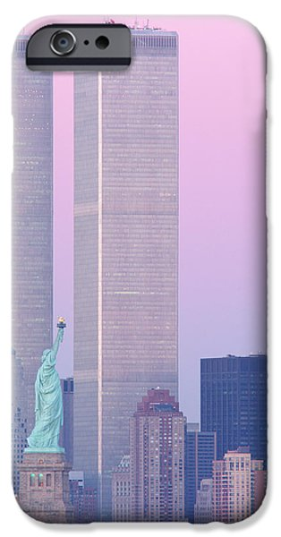Twin Towers Nyc iPhone Cases - Usa, New York, Statue Of Liberty iPhone Case by Panoramic Images