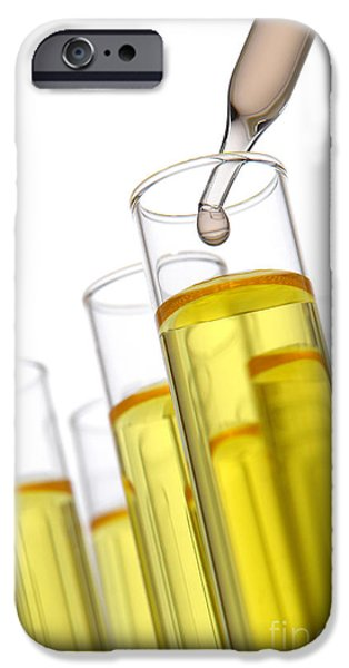 Laboratory Equipment iPhone Cases - Test Tubes in Science Research Lab iPhone Case by Olivier Le Queinec