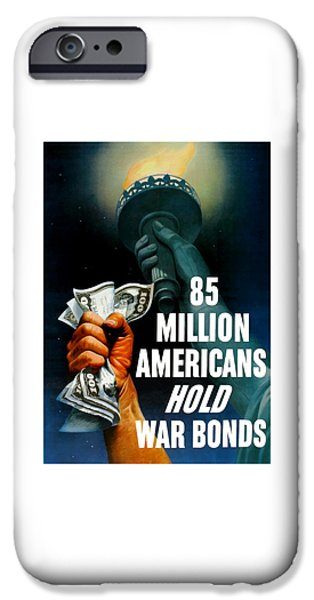 Lady Mixed Media iPhone Cases - 85 Million Americans Hold War Bonds  iPhone Case by War Is Hell Store