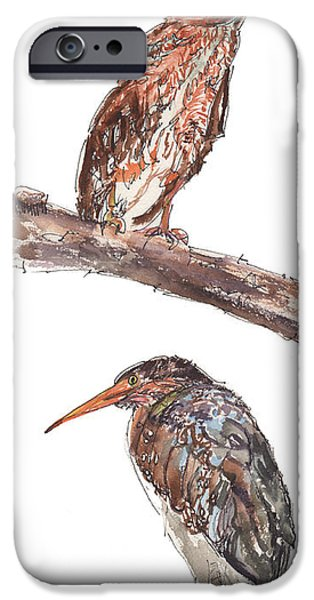 Young Paintings iPhone Cases - 8th and Main Herrings iPhone Case by Kathleen McElwaine